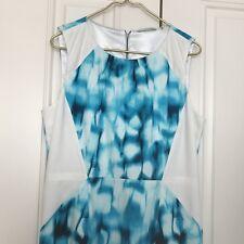 T Tahari Womens 14 NWOT Aqua Sea Watercolor White Cotton Summer Dress Pockets