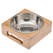Elevated Pet Dog Cat Feeder Bowl Set Raised Wooden Stand Stainless Steel Bowl
