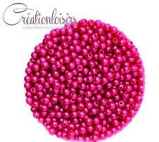 Lot de 100 Perles ronde nacré acrylique fushia 4 mm