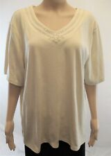 Allison Dailey Women's 3X Top Pullover V-Neck, Short Sleeve, Beige