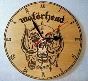 Motorhead Wall Clock on engraved wood man cave gift