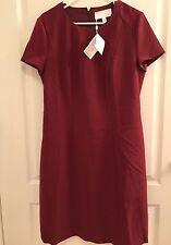 BOSS Hugo Boss $575 Womens Dipela Red Woven Crew Neck Wear to Work Dress 12