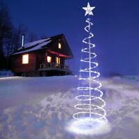 5' FT Christmas LED Spiral Tree Light Cool White Xmas Holiday New Year Battery