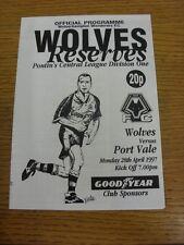 28/04/1997 Wolverhampton Wanderers reservas V Port Vale reservas (cuatro páginas).