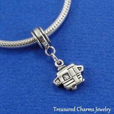 .925 Sterling Silver POP UP CAMPER RV Dangle Bead CHARM fits EUROPEAN Bracelet