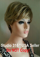 Short Brown Wig Golden Blonde Highlights Tips Streaks Side Swept Bangs