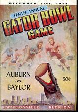 1954 Gator Bowl Program Auburn Tigers v Baylor Bears Ex Cond 5010