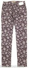 NWT UNIQLO Floral Print Skinny Fit Tapered Jeans in Wine Purple sz 25