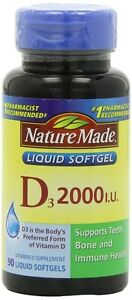 Nature Made Vitamin D 2000 I.U. with D3, Liquid Softgels, 90-Count