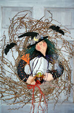 #7210 Witch doll wreath pattern by Bonnie B Buttons Grapevine wreath wall art