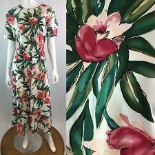 Vintage Carol Anderson California 10 Floral Print Midi 80s 90s Flare Dress M
