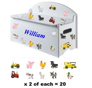 Boy or Girls Name (300mm) + 20 Farmyard Animals & Tractor  Stickers for Toy Box