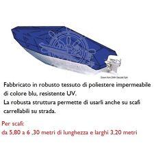 TELO COPRIBARCA IMBARCAZIONE COPRI BARCA IMPERMEABILE - BLU -  DA 5,80 A 6,30 MT