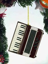 """BURGUNDY & WHITE ACCORDION 2.5"""" MUSICAL INSTRUMENT CHRISTMAS ORNAMENT GIFT BOXED"""