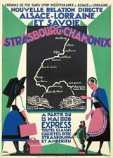 RARE ROGER BRODERS POSTER CHAMONIX AND STRASBOURG 1926 ORIGINAL ON LINEN