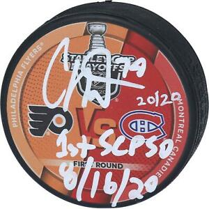 Carter Hart Flyers Signed Round 1 vs Canadiens Match-Up Puck & Insc - 20/20