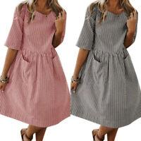 Plus Size Women Short Sleeve Striped Midi Shift Dress Summer Beach Loose Dresses