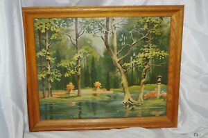 Vintage Large Framed Paint by Number Painting Wood Frame - Awesome Scene