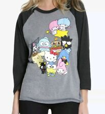 Hello Kitty And Sanrio Characters Raglan Women's T Shirt Size XS Japan Kawaii