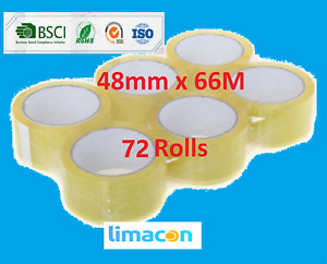 72 Rolls Clear Parcel Packing Tape Rolls 48mm x 66 Meter
