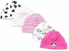 Gerber Baby Girls Newborn 5 Pack Caps, Size 0-6 Months Hot Pink Dalmation,