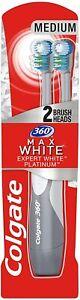 Colgate 360 Max White Expert Whitening Battery Powered Toothbrush + 2 Heads