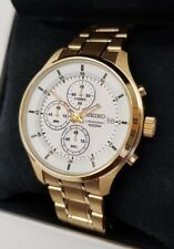 Seiko Men's Chronograph Stainless Steel Gold Plated Watch. New In Box