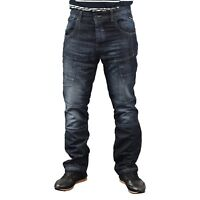Mens Crosshatch Jeans Cargo Combat Pants Straight Multi Pocket Denim Trousers