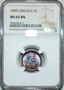 1909 LINCOLN WHEAT CENT NGC MS 65 BN BEAUTIFUL LUSTER NICELY TONED GEM
