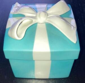 """4"""" LARGE Tiffany & Co. Porcelain Blue Bone China Trinket Gift Box Ceramic Mint!"""