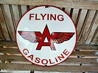 """FLYING A porcelain sign advertising vintage gasoline 20"""" oil old gas Veedol USA"""