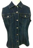 Chicos Alicia Dark Blast Blue Denim Vest Size 2  Button Front Flap Pockets New