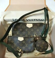 Louis Vuitton Multi Pochette Accessoires Monogram Bag M44813 Kaki 100 Authentic