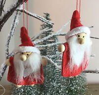 2x Felt Red Santa Hanging Christmas Decoration Gisela Graham Heart Gift Tree