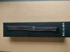 Religion Mens Leather Magnetic Clasp Closure Bracelet