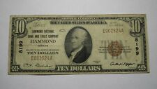 New listing $10 1929 Hammond Indiana In National Currency Bank Note Bill! Ch. #8199 Fine!
