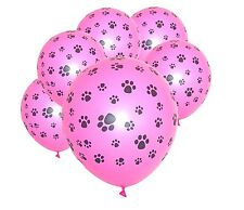 Paw Print Pink Latex Balloons x 6 Paw Patrol Scooby Doo Pound Puppies Decoration