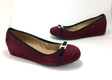 New $140 Vaneli size 9 Aretha Burgundy Suede Black Bow Hidden Wedge Low Heels