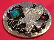 VTG Nickel Silver Raised 3-D *EAGLE* Chunk Turquoise & Coral Western BELT BUCKLE
