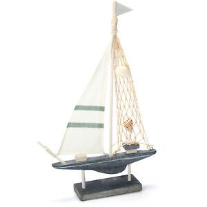 Maritimes Deko Segelschiff mit Muscheln und Leinen-Segel [Auswahl variiert]