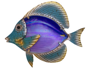 Amethyst & Turquoise Colored Fish for Wall Display Crafted in Metal and Glass