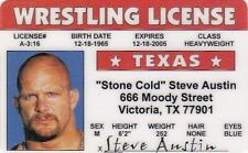 Stone Cold Steve Austin Wrestling wwf wcw wwe Victoria Texas TX Drivers License