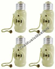 4X Lamp Socket Converter with 2 AC Outlets Bulb Holder & Pull Chain Switch IVORY
