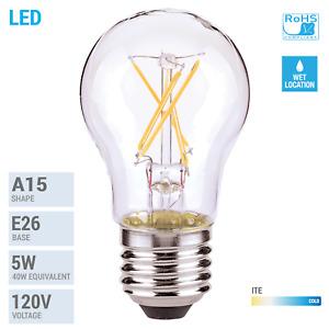 LED Filament Bulb 5W =40W A15 Damp Location Medium E26 Clear 2700K Warm White