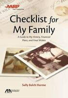 Aba/aarp Checklist For My Family: A Guide To My History, Financial Plans And ...