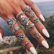 Boho Ring Set Knuckle Rings Midi Silver Fashion Thumb Stack 11 Ring Set UK Set D