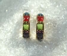 """LC SIGNED MULTI-COLOR INLAID GLASS & CRYSTAL GOLD TONE HOOP EARRINGS  9/10"""""""