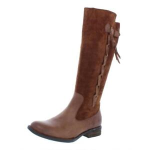 Born Womens Cook Brown Suede Braided Riding Boots Heels 7 Medium (B,M)  9845