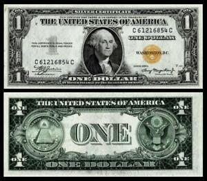 1935 A $ 1 SILVER CERTIFICATE-YELLOW SEAL-NORTH AFRICA~ABOUT UNCIRCULATED