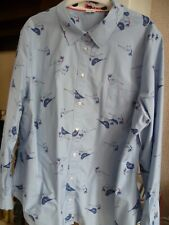 Boden shirt/top blue with blue/red/green/yellow bird design shaped back size 22